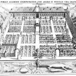 Engraving showing the botantical garden from above highlighting the grid layout of the gardens with buildings behind.