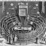 Engraving of the an autopsy in the centre surrounded by rings of seats. Skeletons are posed watching.