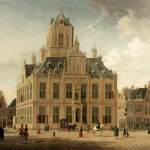 Painting of the Town hall in Delft showing a 3 story, compact building with central tower