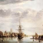 Oil paintin showing several old fashioned rigged sailing ships in harbour