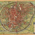 Map showing circular walls surrounding city.