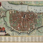Old map of Antwerp - showing a walled city surrounded by a river and moat. To the left is a large star shaped fort.