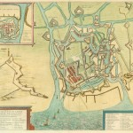 Map of Ostend showing a fortified coastal town on a river mouth