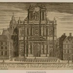 Engraving of an ornate church facade with a domed structure behind.