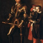 Man wearing plate armour with young man holding clothing.