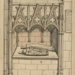 Drawing of tomb with 2 headless humans statues set in church alcove.