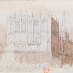 Fine pencil drawing of ornate church.
