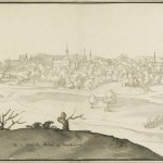 Monochrome drawing of town on hill in distance. Prominent foreground of hill.