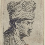 Pencil drawing of moustached man with large hat.