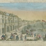 Colour print of port with bustling people next to grand building.