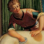 Painting of young man brushing a dog.