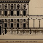 Line drawing of grand building with ornate facade.