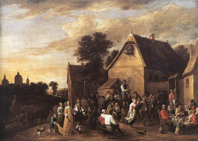 Painting of a Kerness street party by David Teniers
