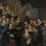 Painting showing a group of soldiers surrounding a bust of a woman's head.