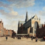 Paintaing showing people in large, open square in front of gothic church