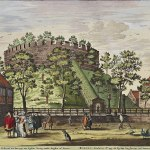 Colour engraving showing a round hill with a small, walled defensive structure at the top,