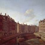 Painting showing tall buildings either side of a canal.