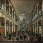 Painting of old church interior showing high roof with archways to each side of the viewer.