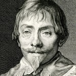 Engraving of the face of Willem Hondius
