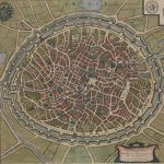 Map of Bruges showing a circular city surrounded by a fortified wall