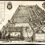 Black and white engraving showing a court building and large gardens.