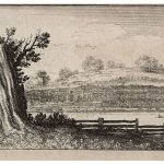 Engraving showing large house and terraced garden
