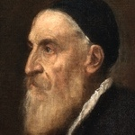 Oil painting of Titian wearing beard and skull cap