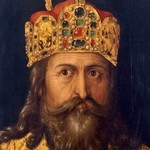 Oil painting of bearded man wearing crown