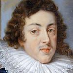 Oil portrait of long haired man wearing a ruff