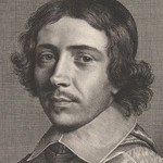 Engraving portrait of man with long hair.