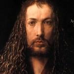 Dark oil painting of bearded man with long, curly hair.