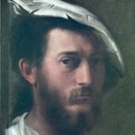 Dark oil painting of bearded man wearing hat at an angle.