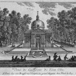 A domed building on a small hill with octagonal basin of water in foreground.