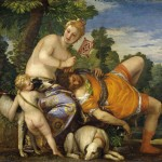 Oil painting of adonis resting his head on the lap of venus with onlooking cherub