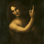 Dark oil painting of androgynous looking man pointing upwards with one finger.