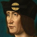Oil painting of man wearing hat with long hair.