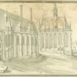 Monochrome drawing of old chapel