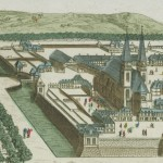 Illustration showing church with 2 spires dominating walled town.