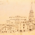 Faded drawing of buildings with church spire.
