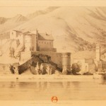 Sepia print of castle beneath mountain.