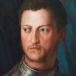 Oil portrait of stern looking man wearing metal armour.