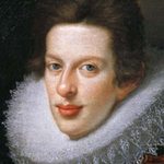 Oil portrait of man wearing lace ruff.