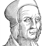 Woodcut of serious looking man in cloth hat.