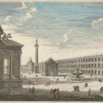 Drawing of wide open piazza lined with grand stone buildings with tower in distance.