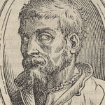 Engraving of bearded man.